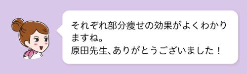 それぞれ部分痩せの効果がよくわかりますね。原田先生、ありがとうございました!
