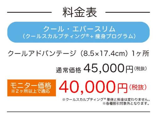 料金表クール・エバースリム クールスカルプティング+痩身プログラム通常価格45,000円モニター価格40,000円