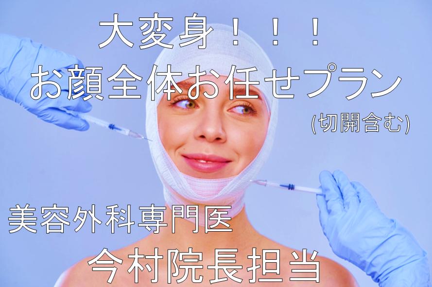 お顔全体お任せプラン!!(切開含む)         【美容外科専門医 今村院長担当】