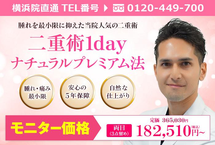 横浜院城石医師による二重術1dayナチュラルプレミアム法3点留め ¥365.030→¥182.510